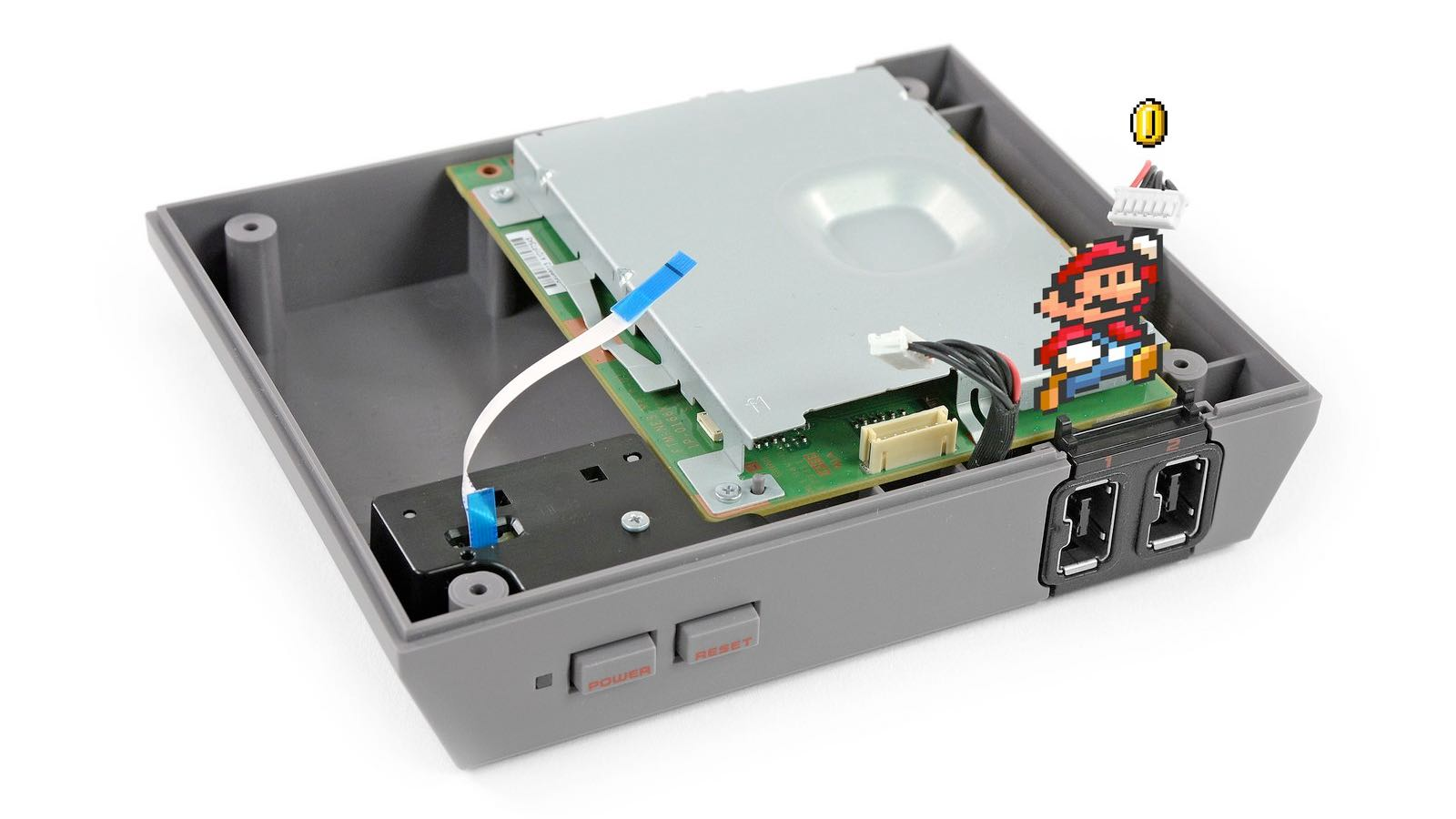 Paper mario affixed to partly torn down NES
