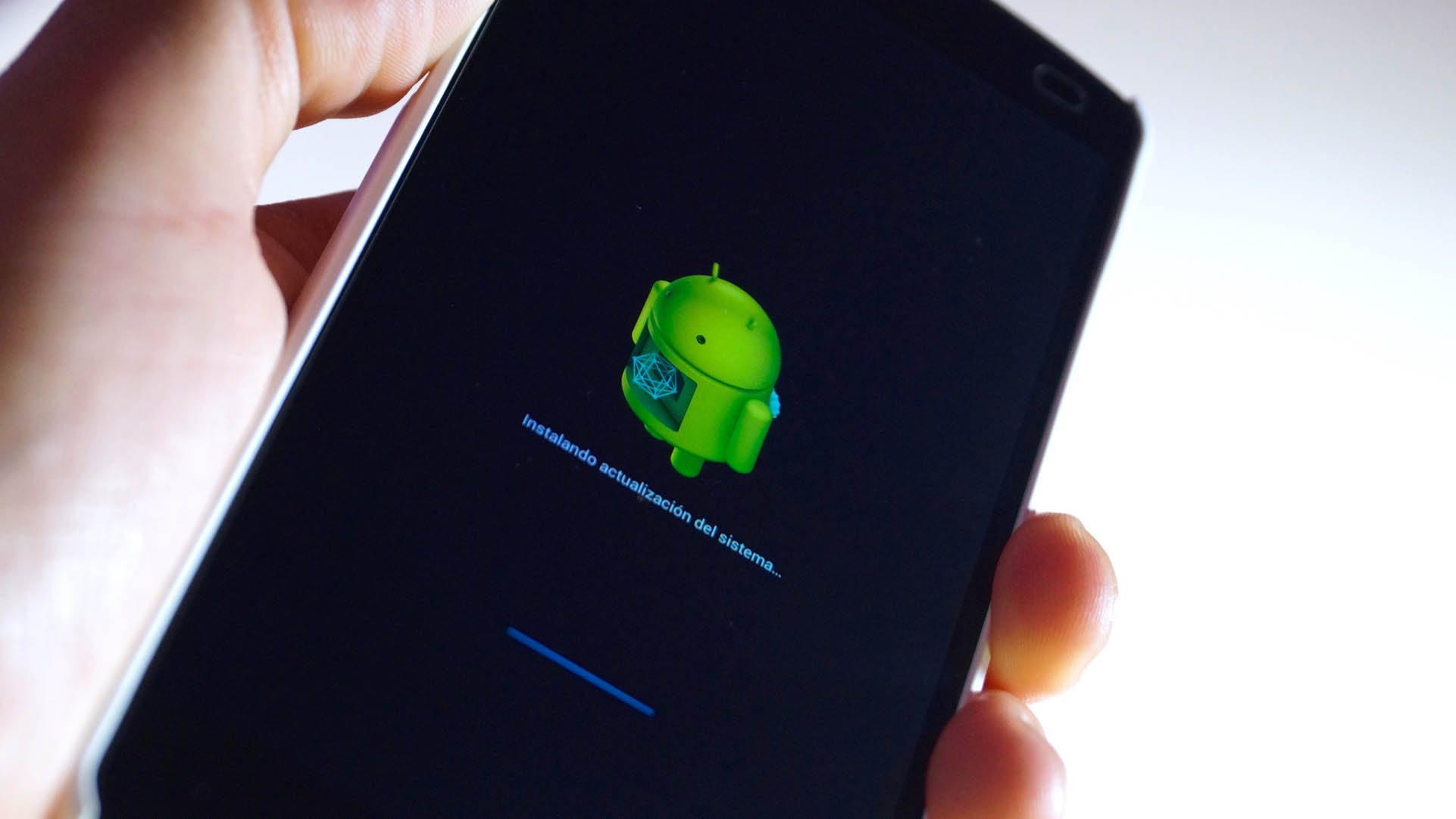 An Android phone in the midst of updating its operating system.