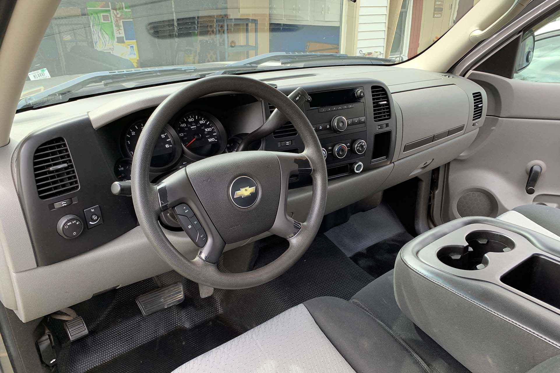 The interior of a Chevy Silverado work truck