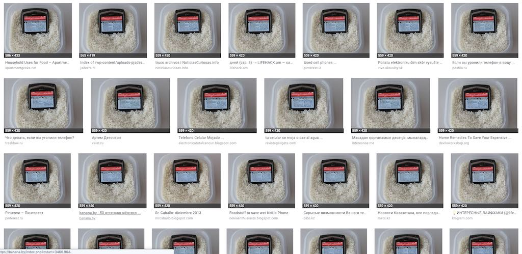 Screenshot of google image reverse-search for the original BlackBerry-in-rice image.