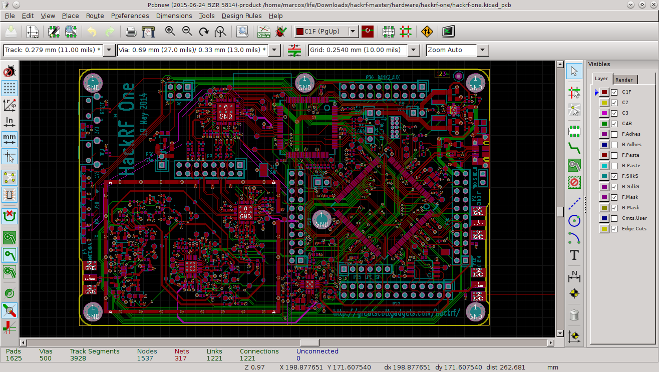 Screenshot of KiCad, an open-source chip design software alternative to Cadence software.