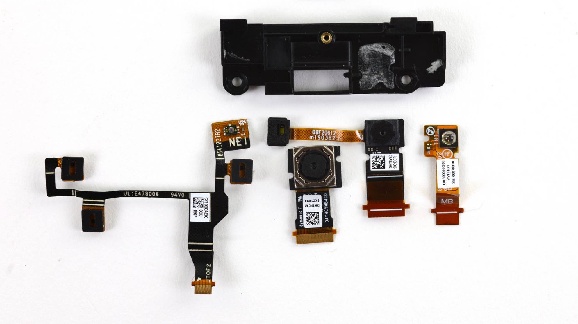 The Elite X2's camera module, with individual camera lenses and IR sensors removed.