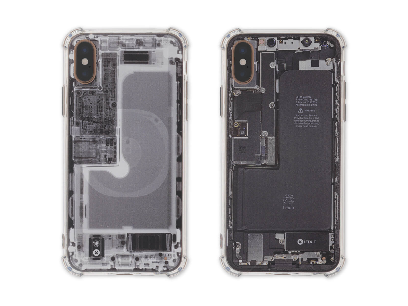 iFixit Insight iPhone cases—one X-ray and one color.