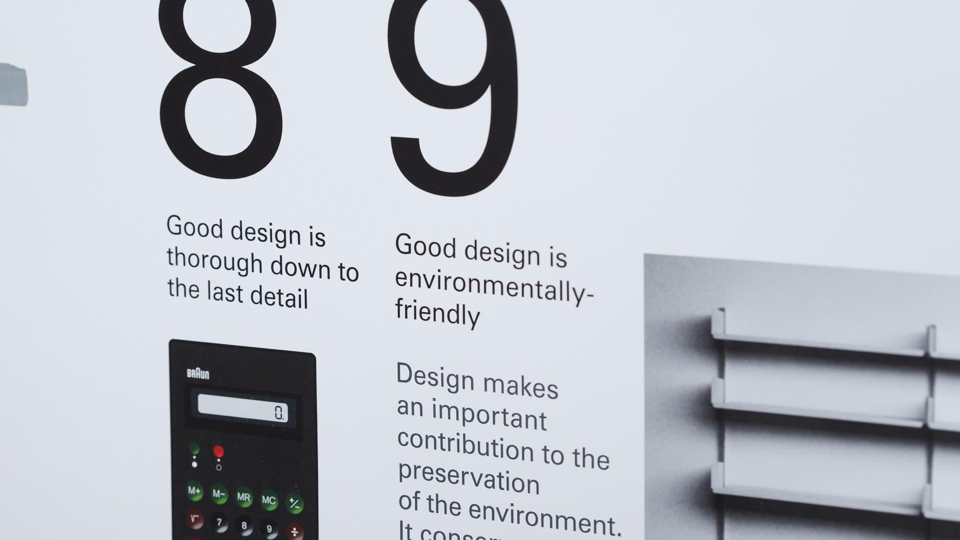 "Photo of Rule 9 of Dieter Rams' good design principles: ""Good design is environmentally friendly."""