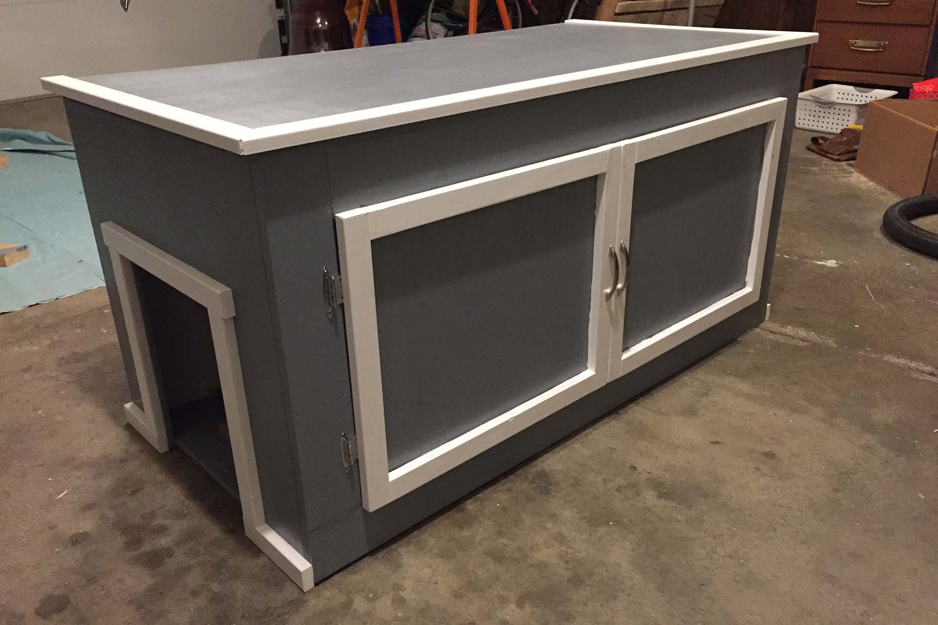 Cat litter box enclosure made from plywood