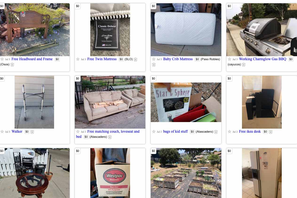 Craigslist listings for free stuff