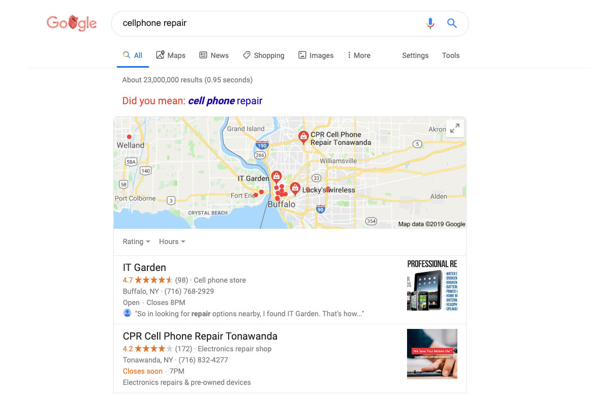 Google search results for local cell phone repair shops.