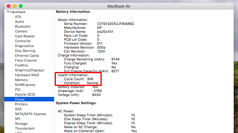 The Power section of the System Information window of a MacBook Air.