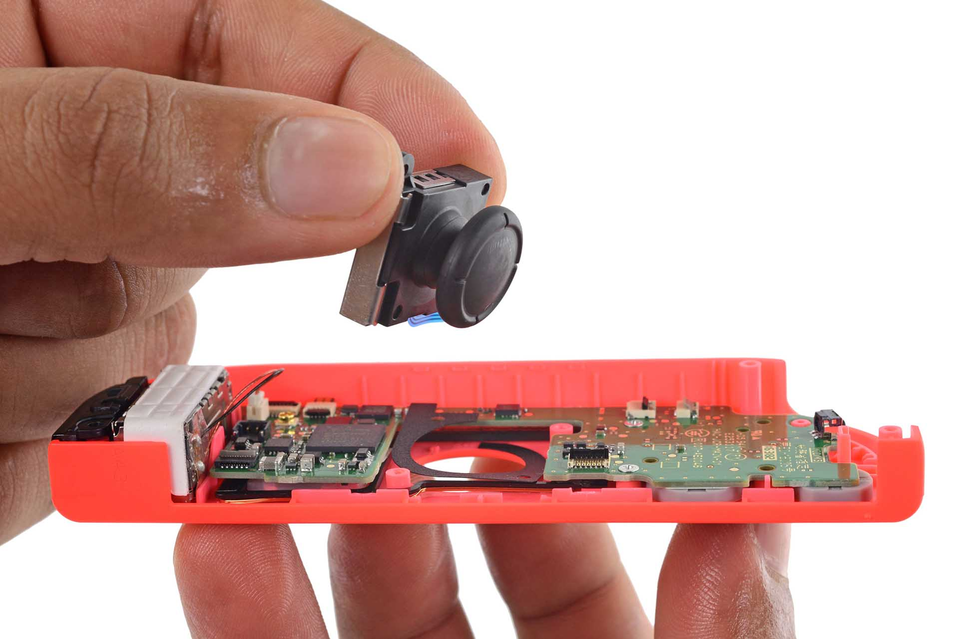 The joystick assembly inside a Nintendo Switch Joy-Con