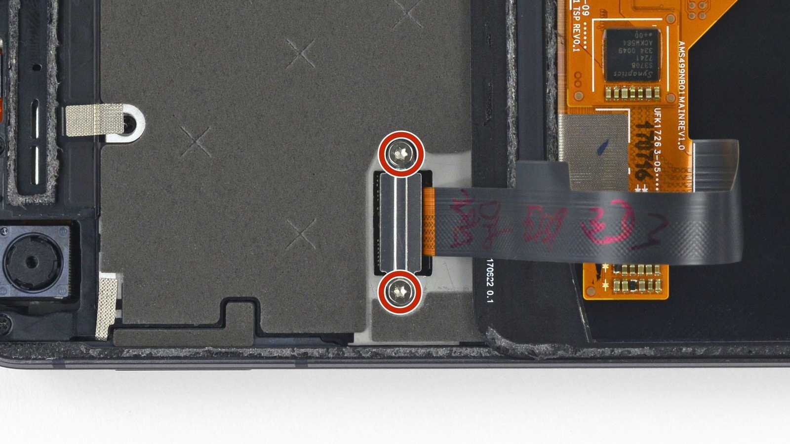 Fragile ribbon cable inside a Pixel 2