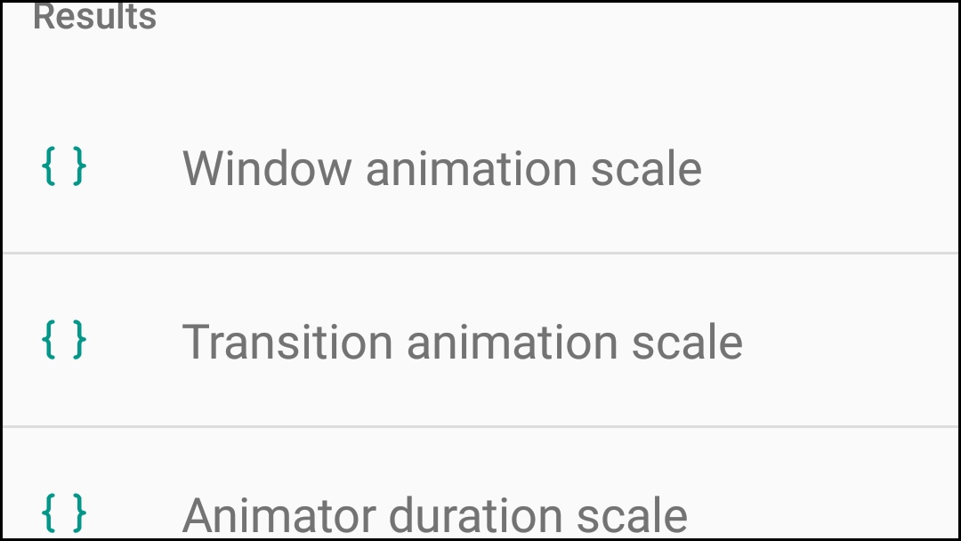 Animations options in Android settings