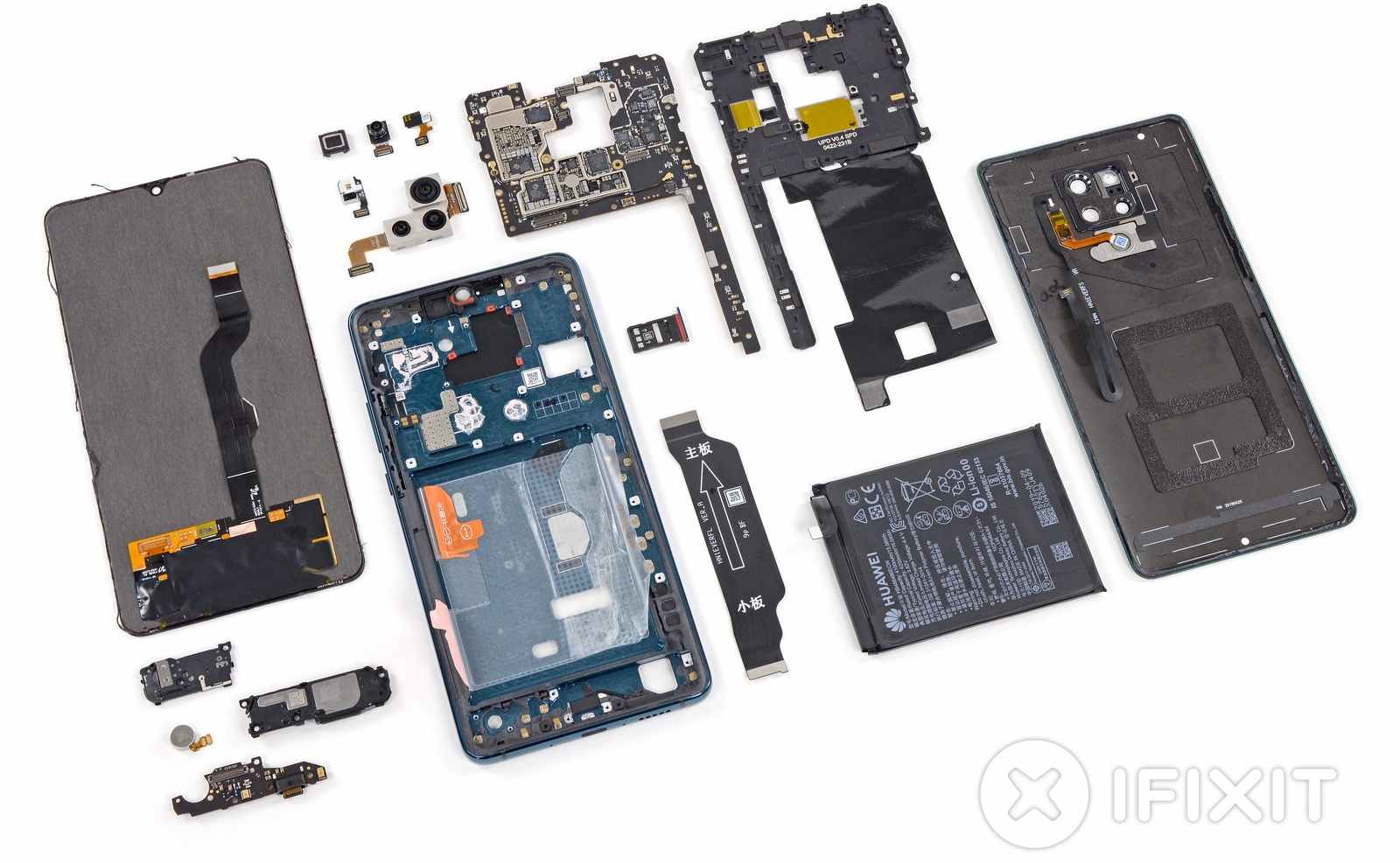 The laid-out parts of the Mate 20 X 5G