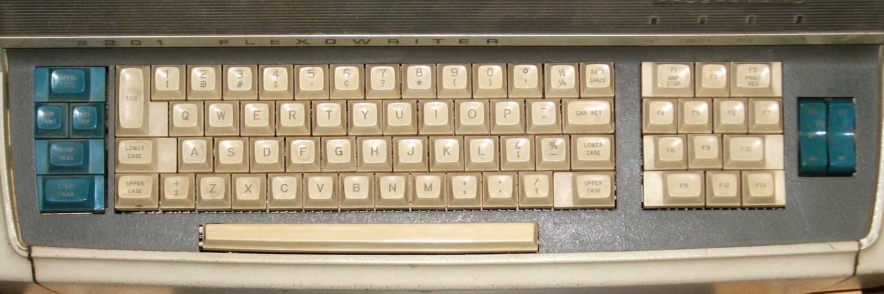 The keyboard on a Flexowriter Progammatic 2201