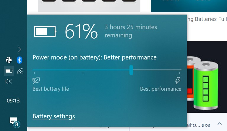 Windows laptop showing a 61 percent battery charge.