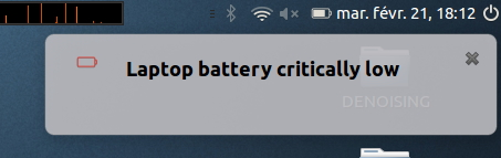Critical battery warning on an Ubuntu system