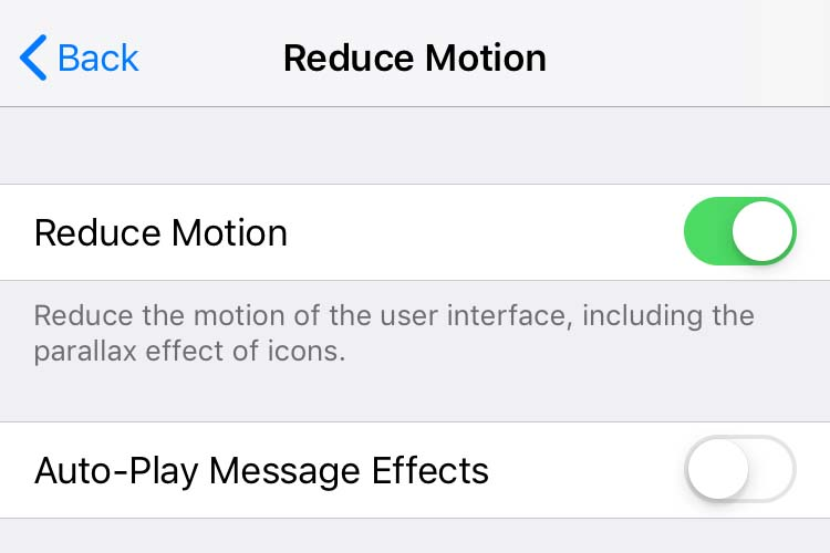 The Reduce Motion settings in iOS