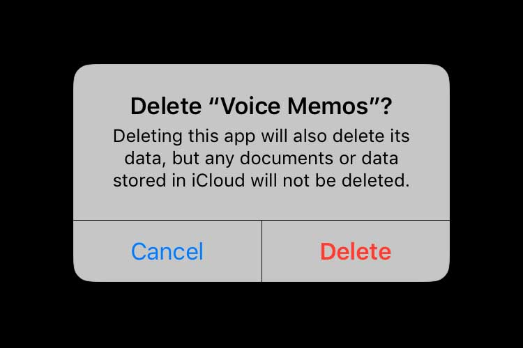 Deleting an app in iOS