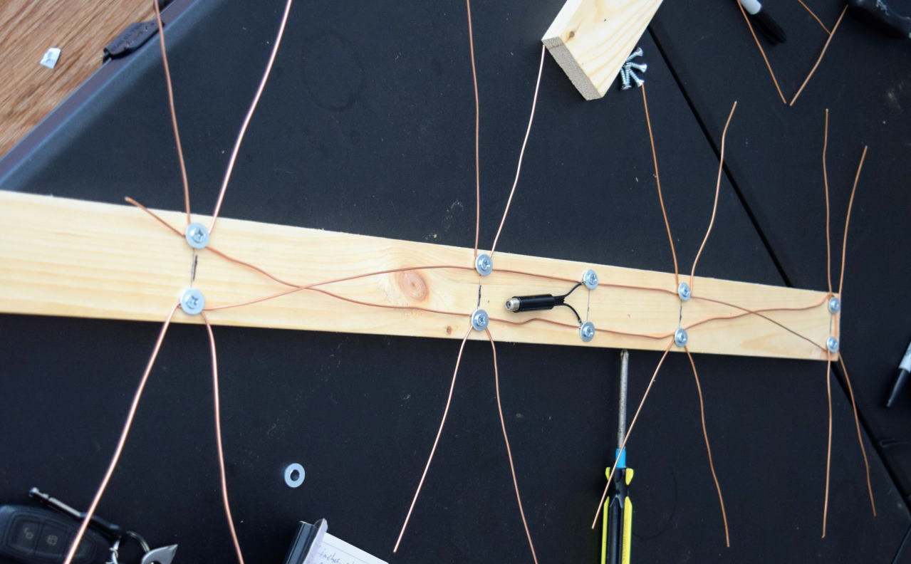 Finished antenna with tools around it