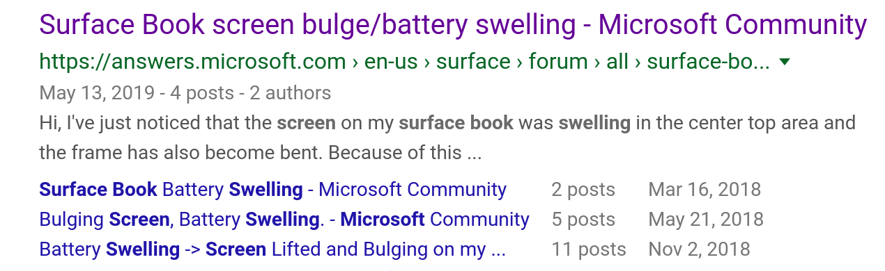 Screenshot of search results for Surface Book Swelling
