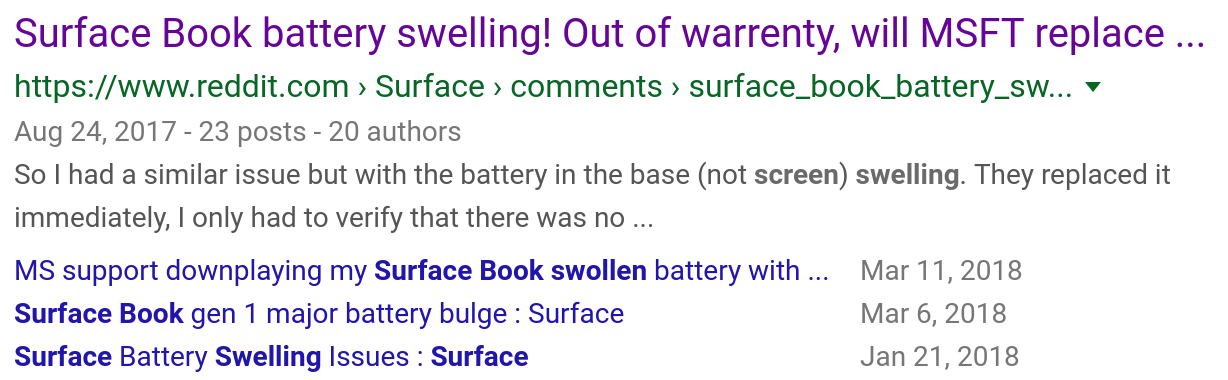 Screenshot of search results for Surface Book swollen