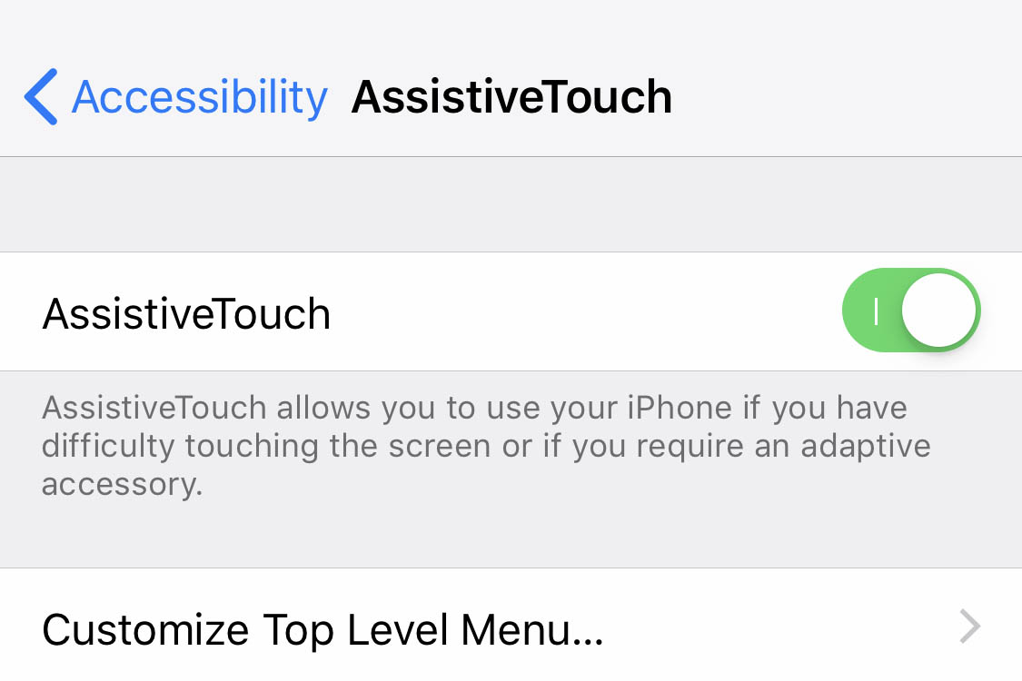 The AssistiveTouch feature on the iPhone