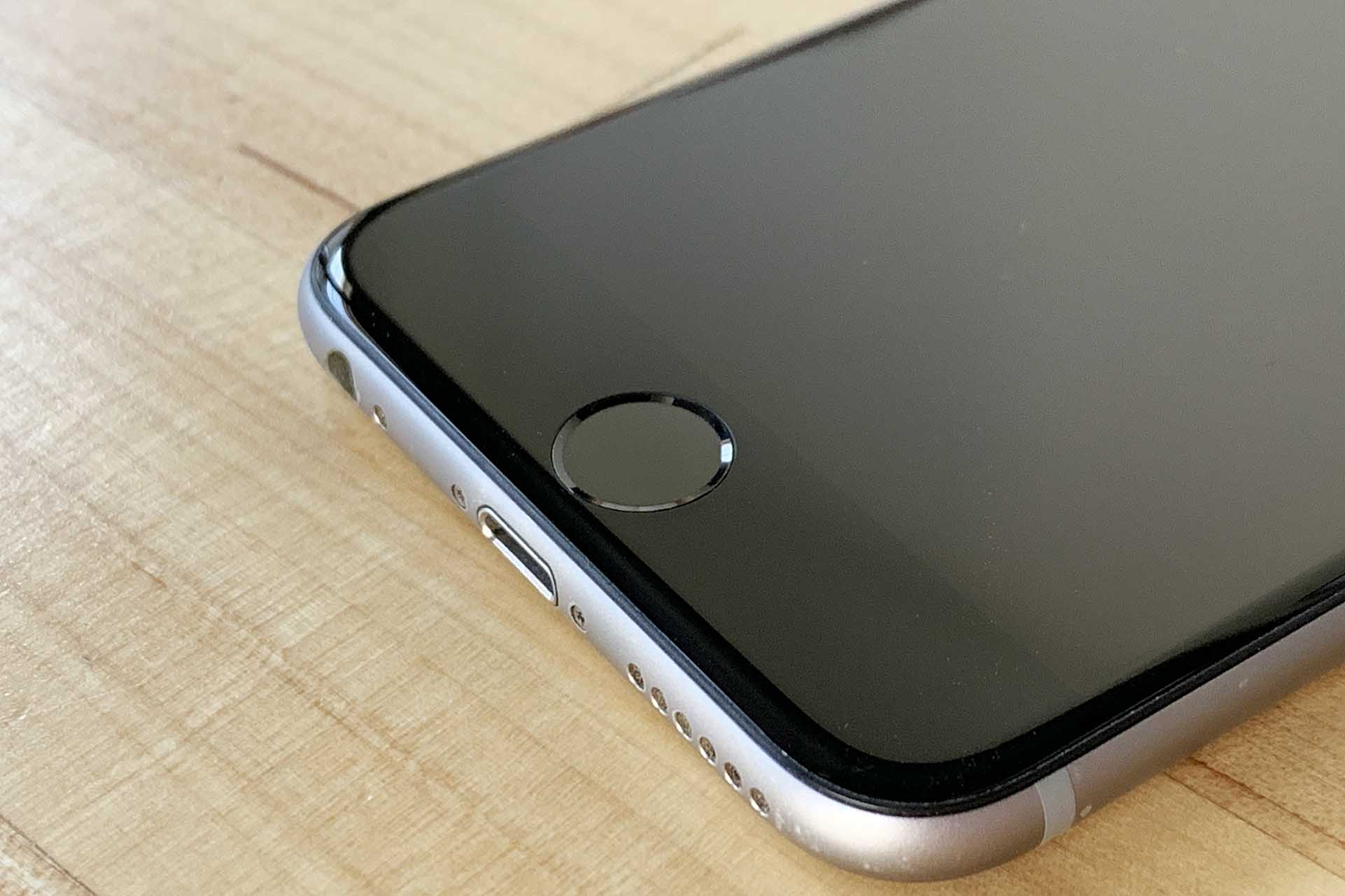 The home button on an iPhone 6.