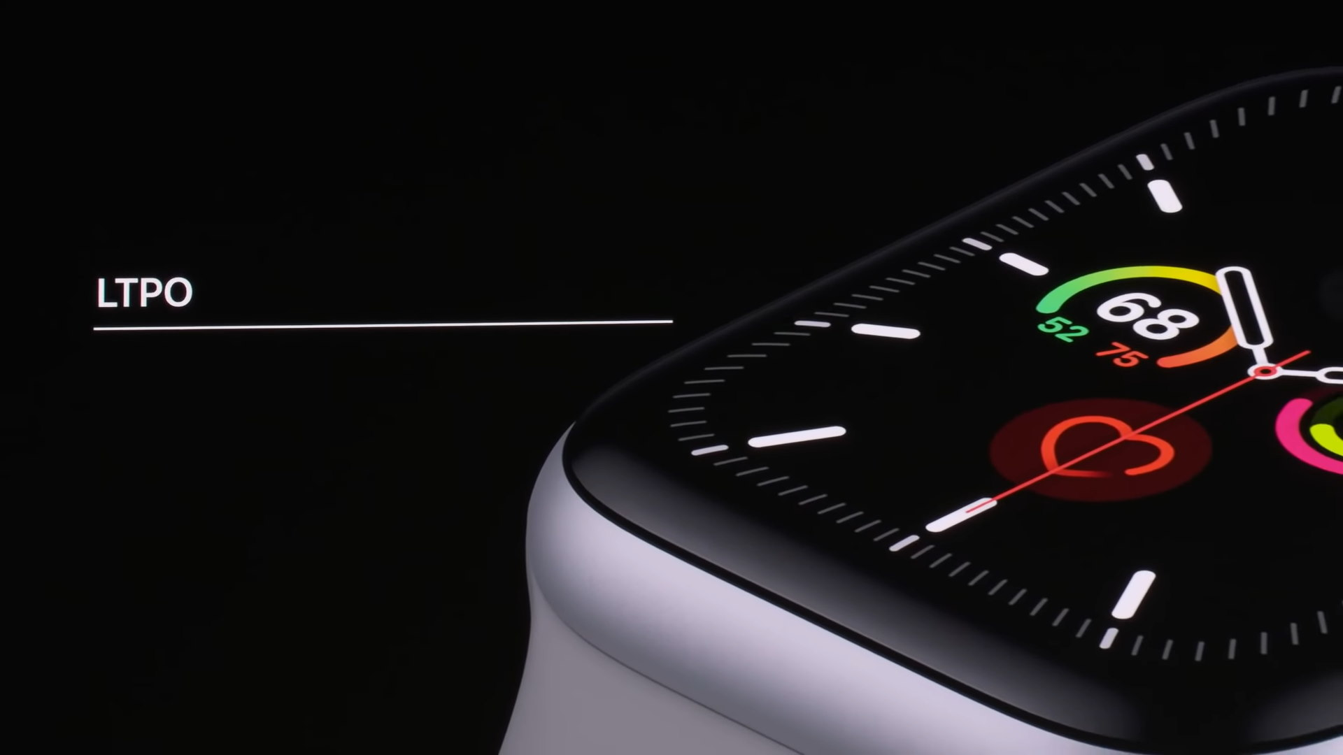 "Slide from Apple presentation with the Apple Watch and ""LTPO"" text"