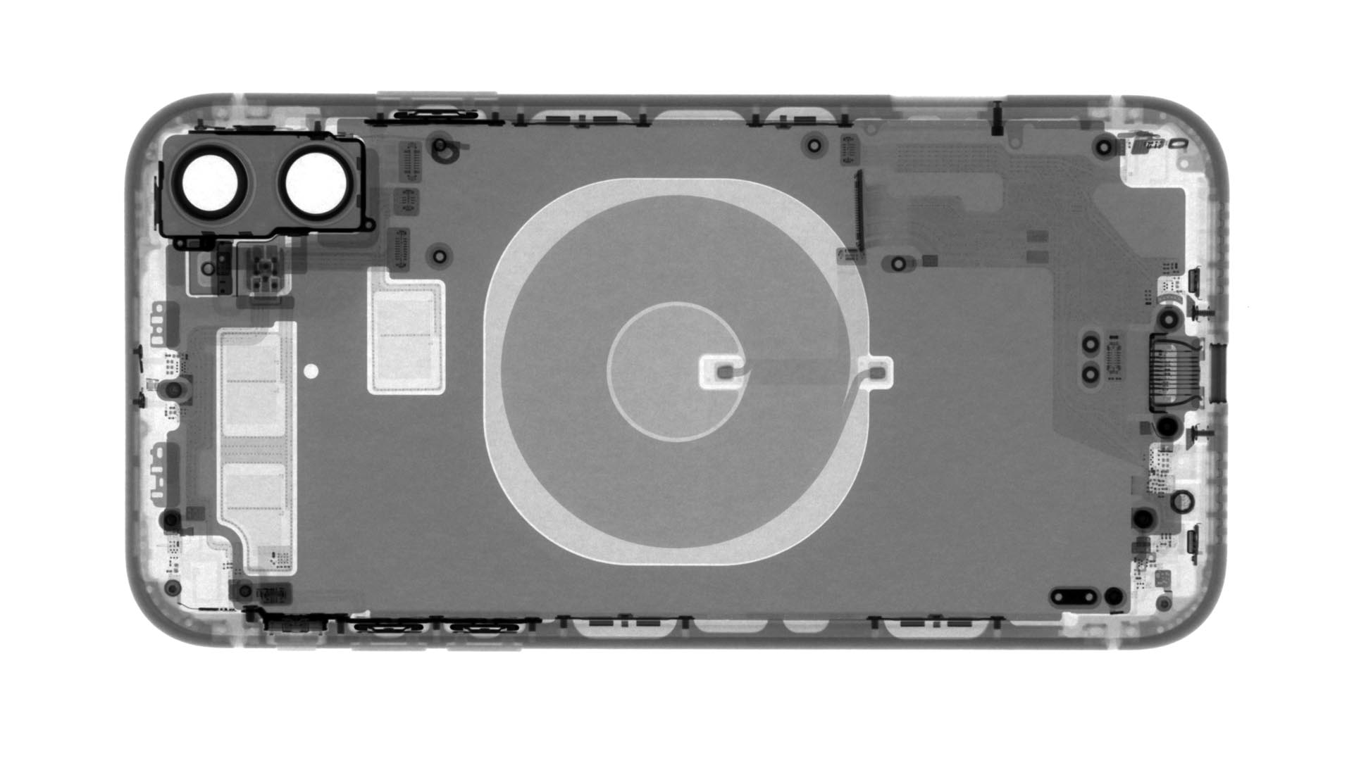 An X-ray of the empty back case of an iPhone 11.