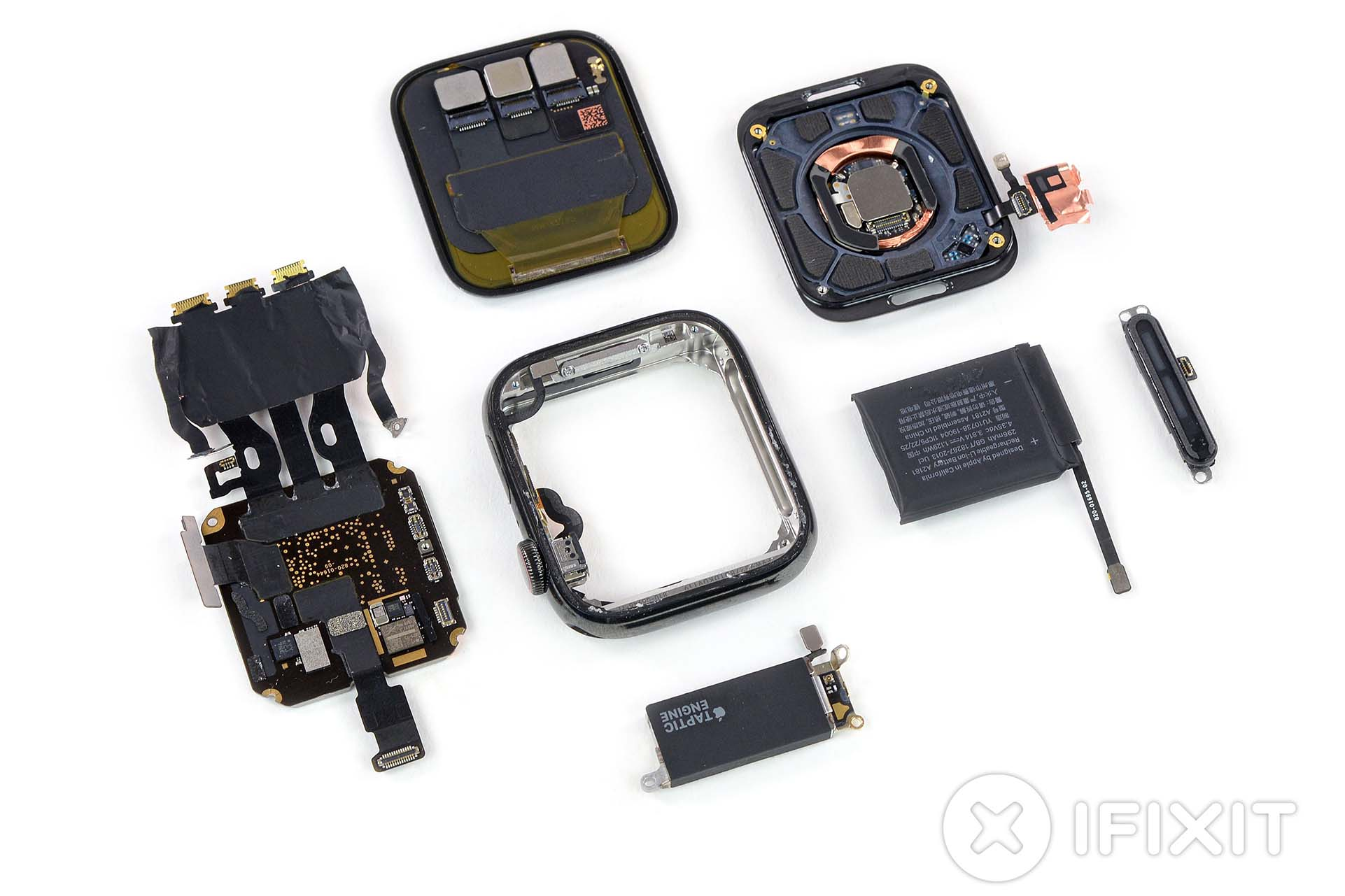 The Apple Watch Series 5 torn down and laid out.