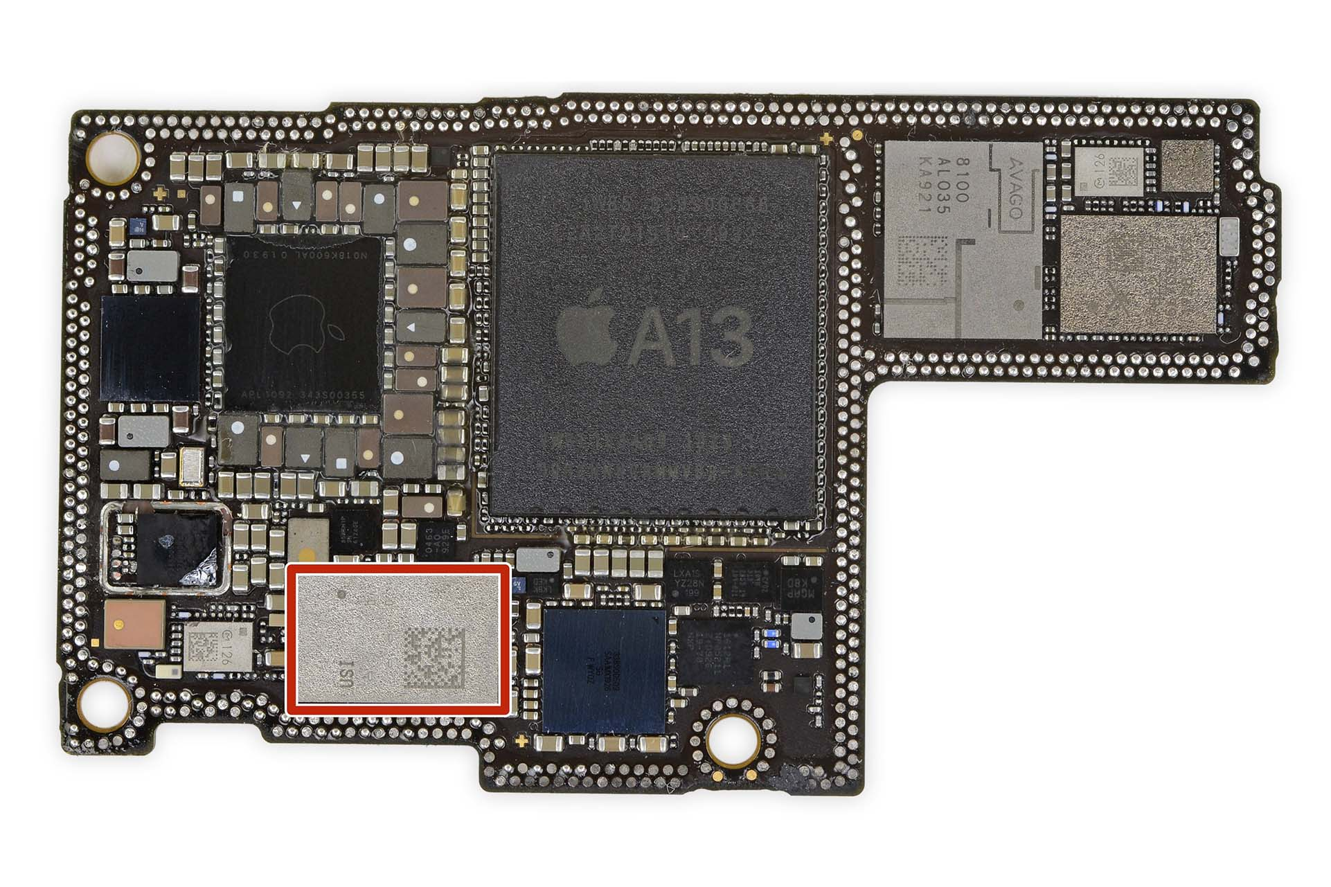The iPhone 11 Pro Max's logic board with Apple's U1 chip highlighted