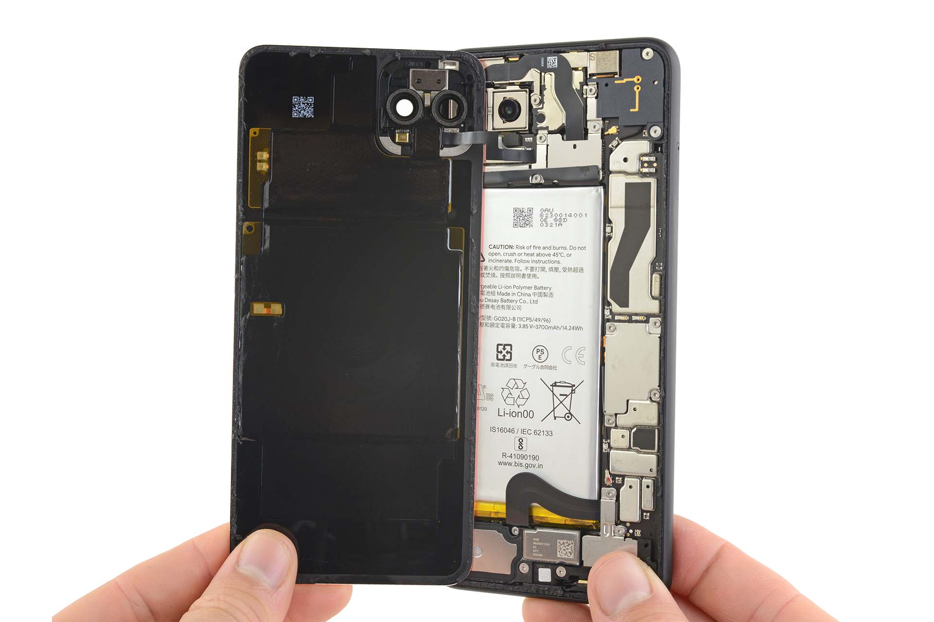 Pixel 4 XL torn open