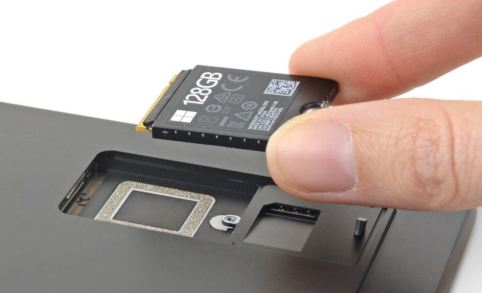 The removable SSD in Microsoft's Surface Pro X.
