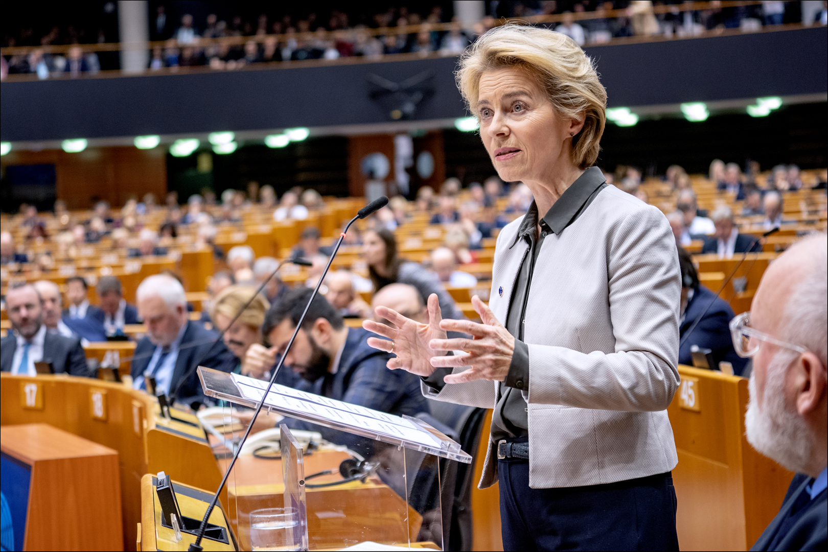 European Commission President Ursula von der Leyen debating the Green Deal