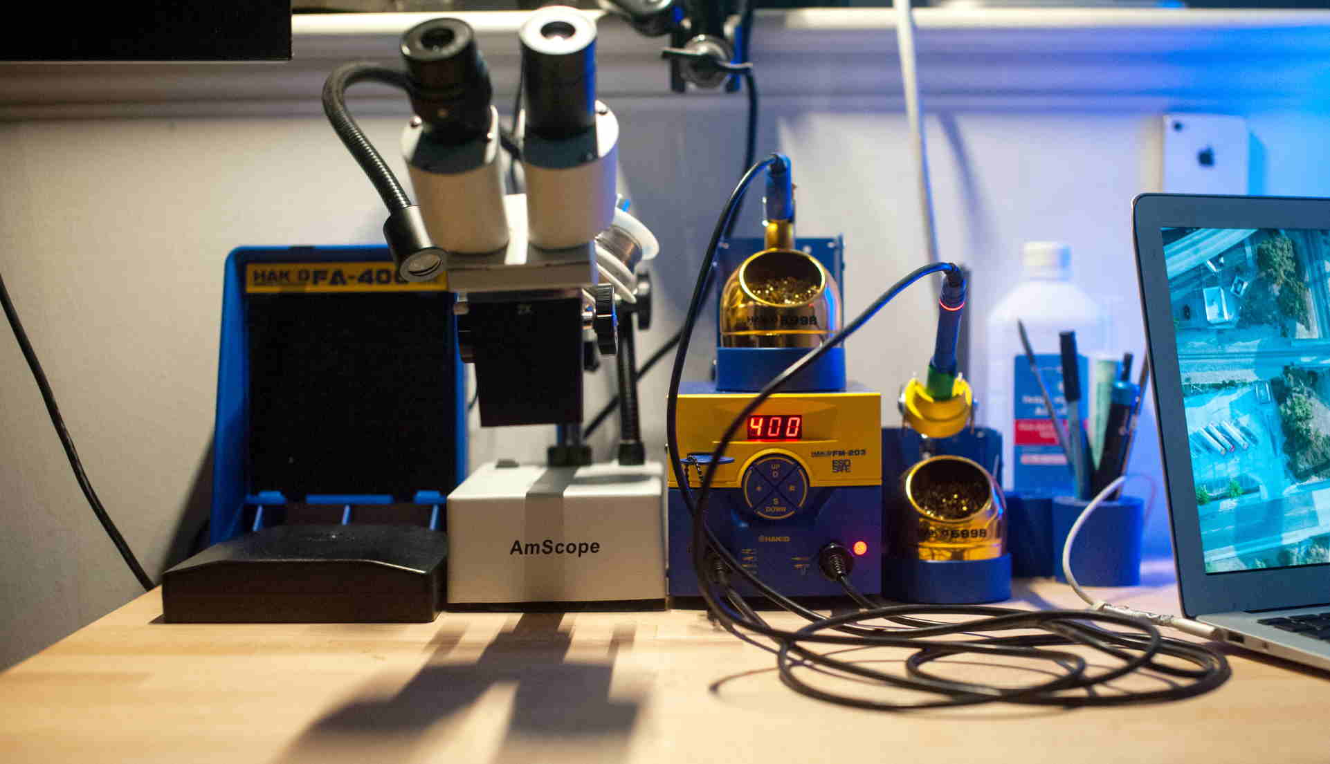 The soldering iron and microscope in Moses Buckwalter's workstation