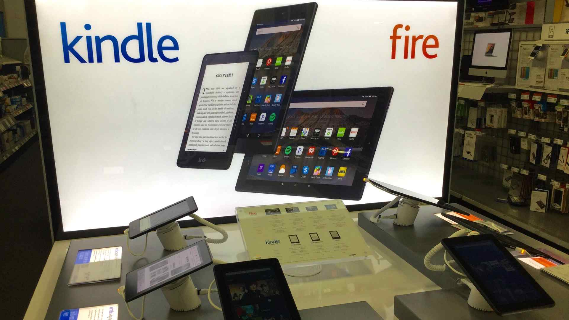 Kindle Fire tablets on display at Best Buy in 2015