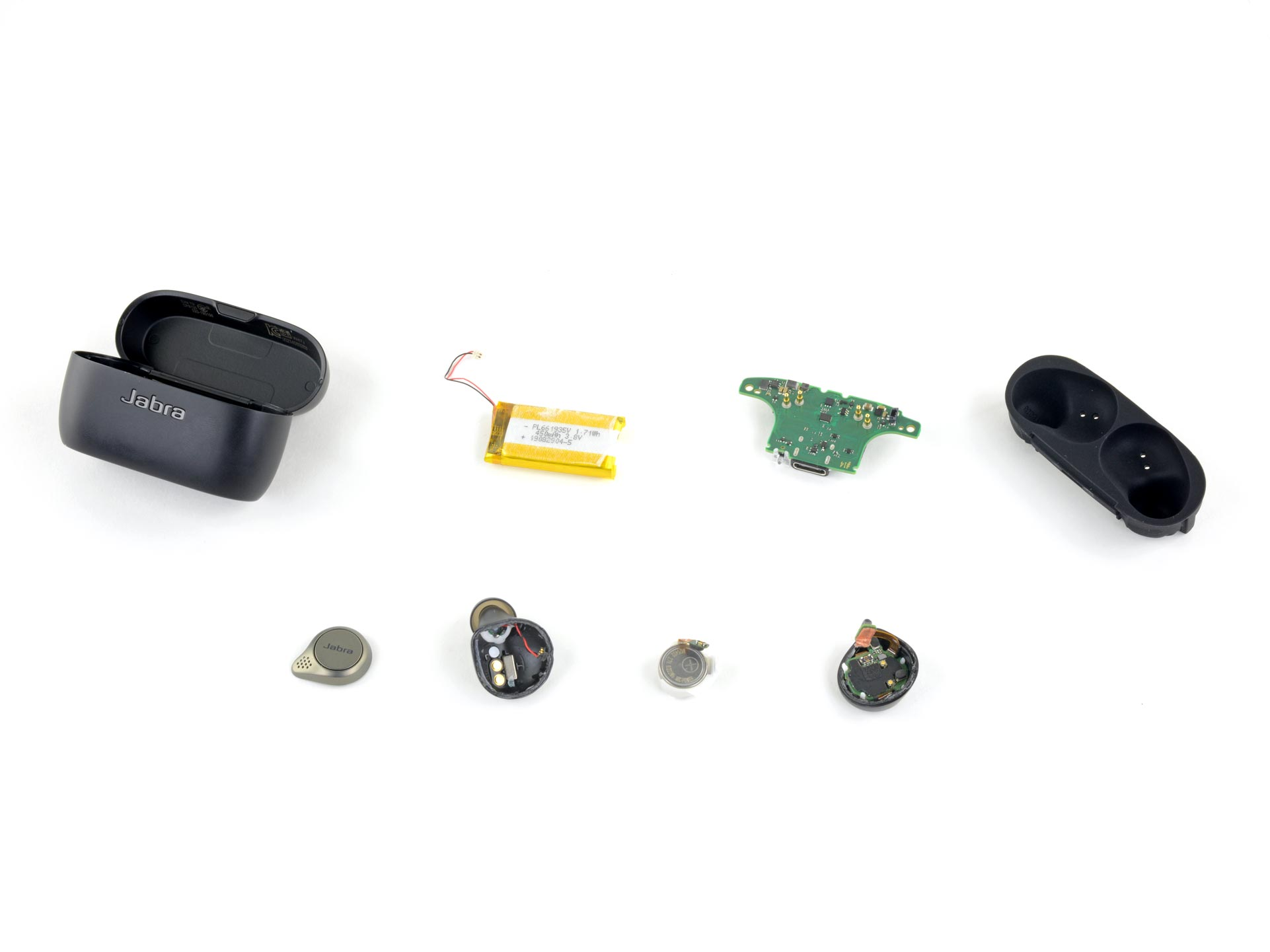 Layout shot of the Jabra Elite 75T buds and case