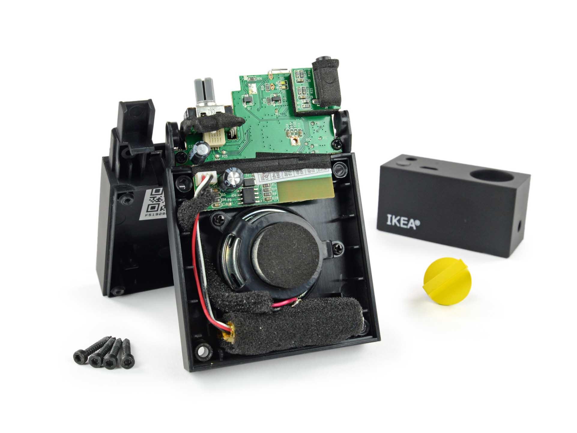 The internals of IKEA's FREKVENS Portable speaker.