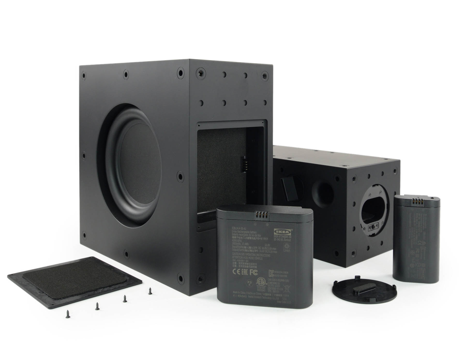 IKEA's FREKVENS combo speakers, with their battery packs removed.