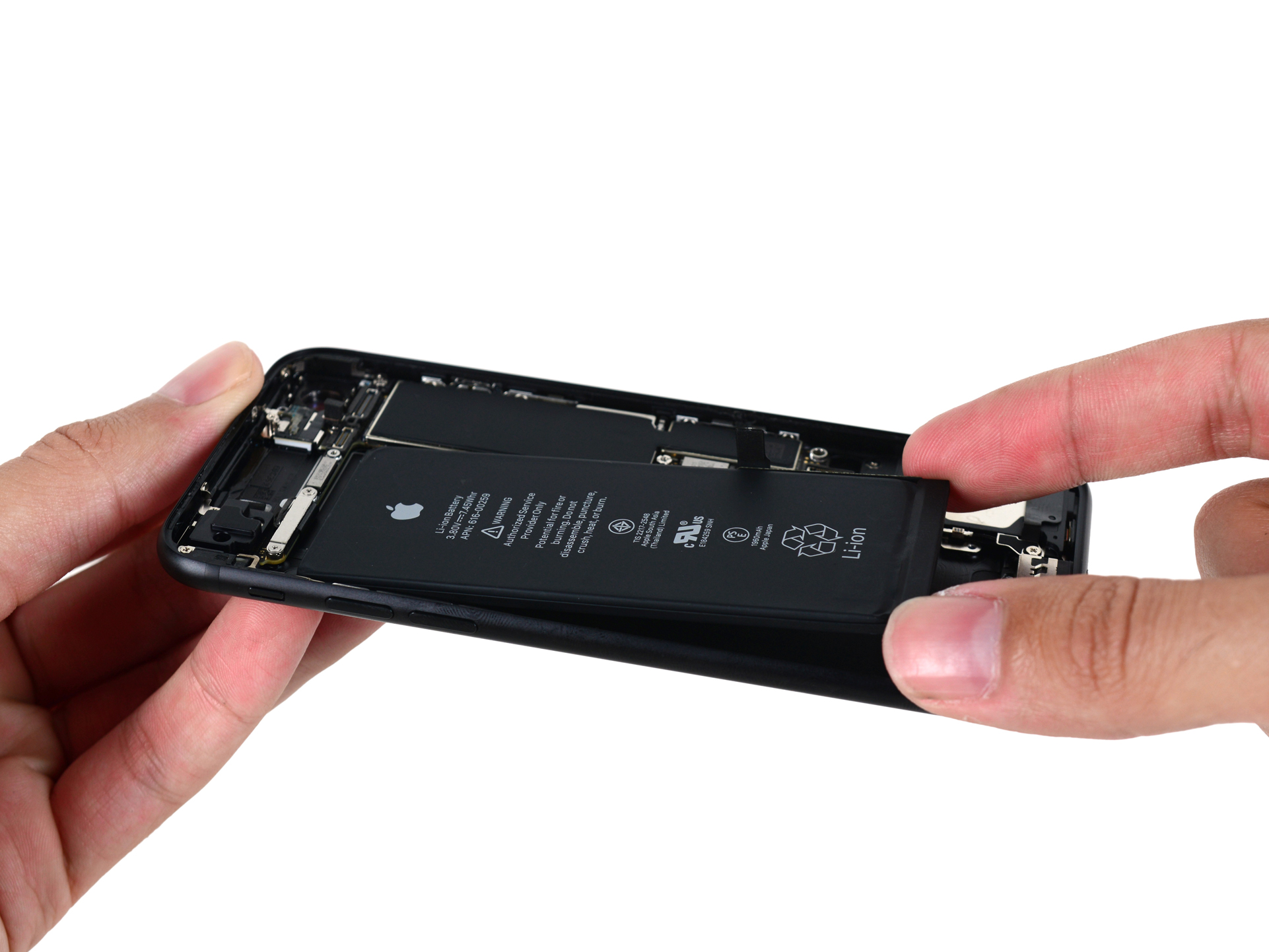 Photo of the battery removal step in an iPhone 7.