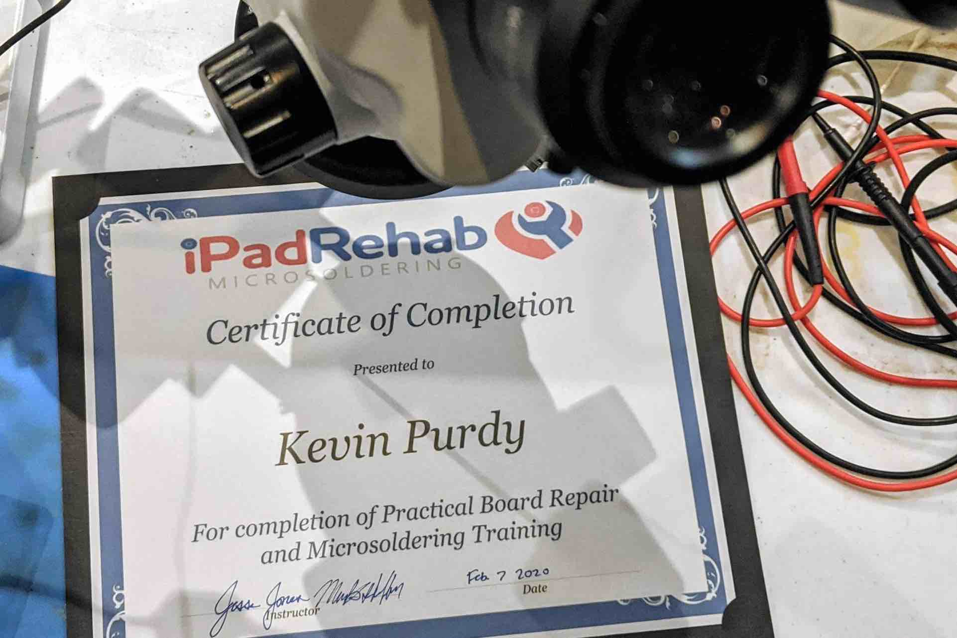 Certificate of Completion from iPad Rehab microsoldering course