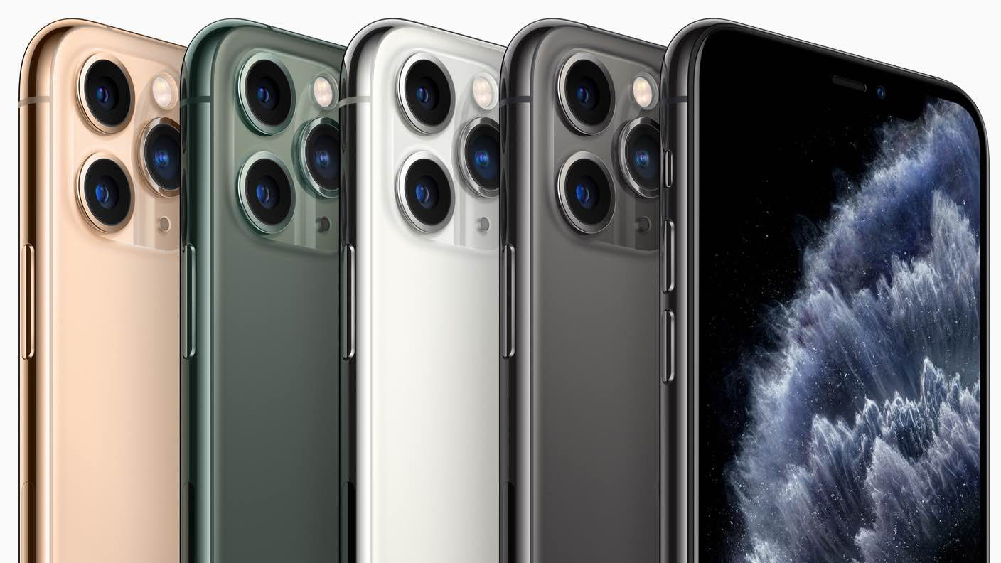 iPhone 11s lined up in a marketing image from Apple