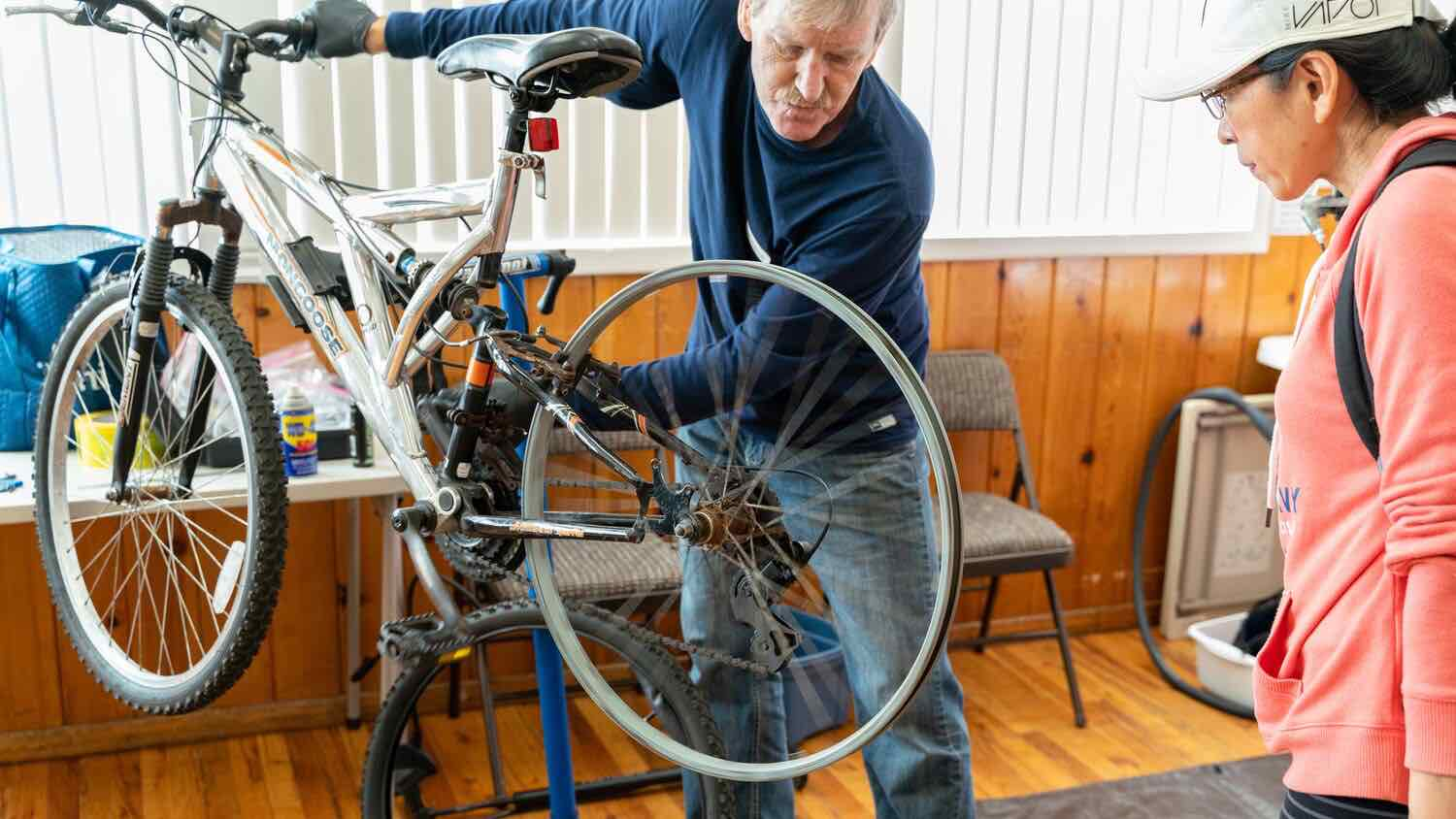 Bike wheel being examined during a repair cafe