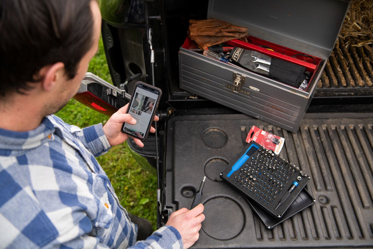 iFixit toolkit on truck bed