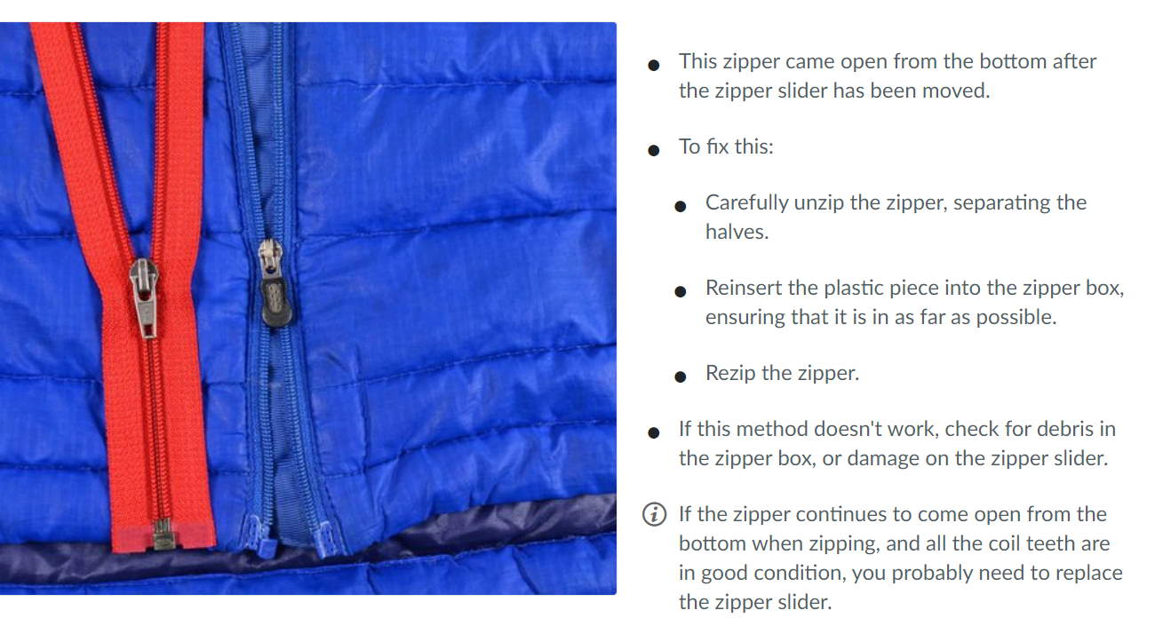 Part of a guide to reconnecting a disconnected zipper.