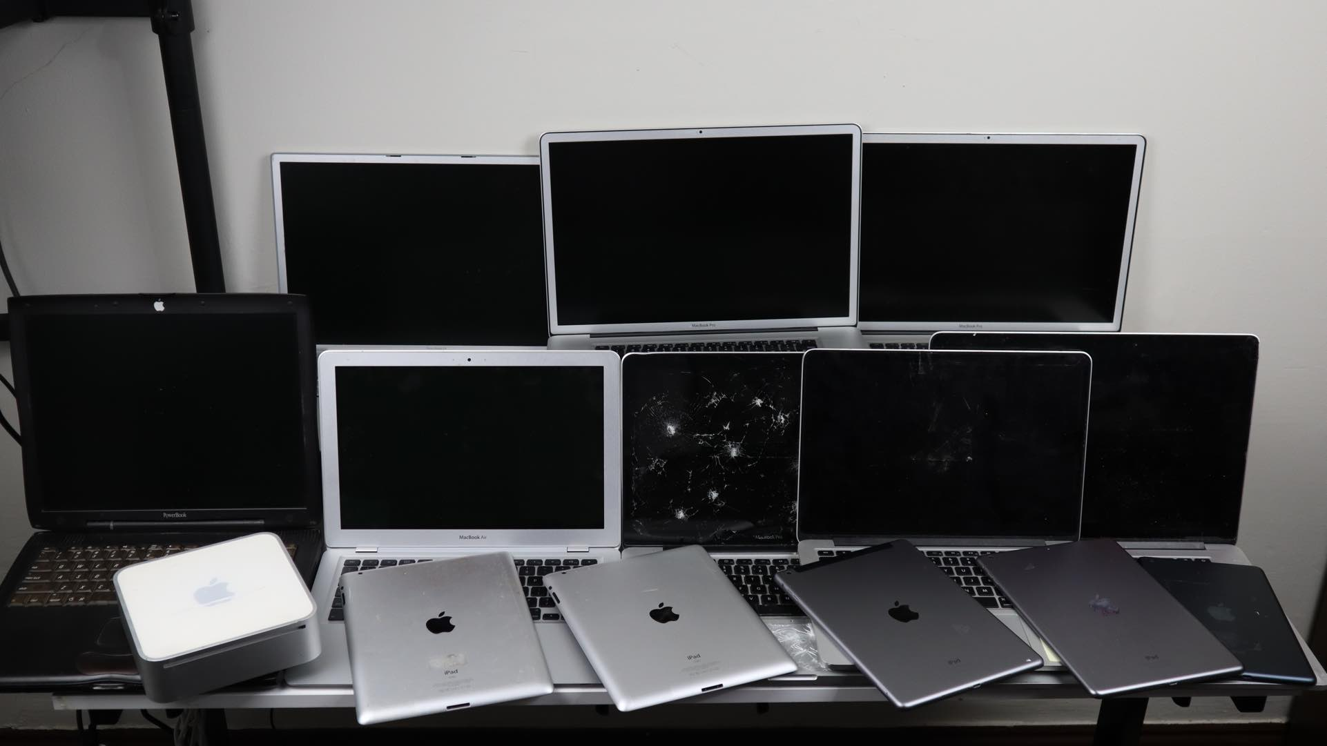 Some of the 26 kilograms of Apple devices Hugh Jeffreys bought to fix.