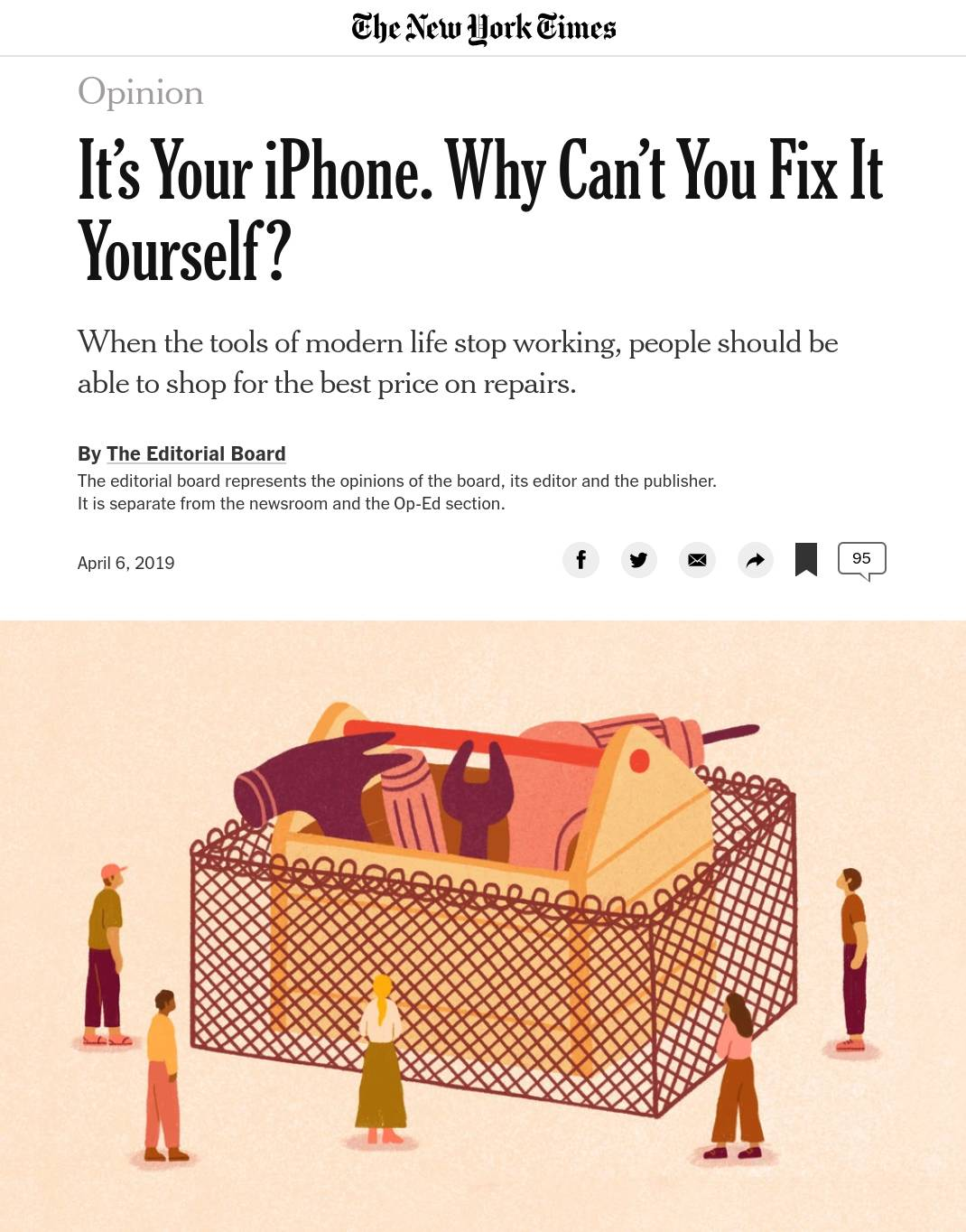 "Image of a New York Times editorial titled, ""It's Your iPhone. Why Can't You Fix It Yourself?"""