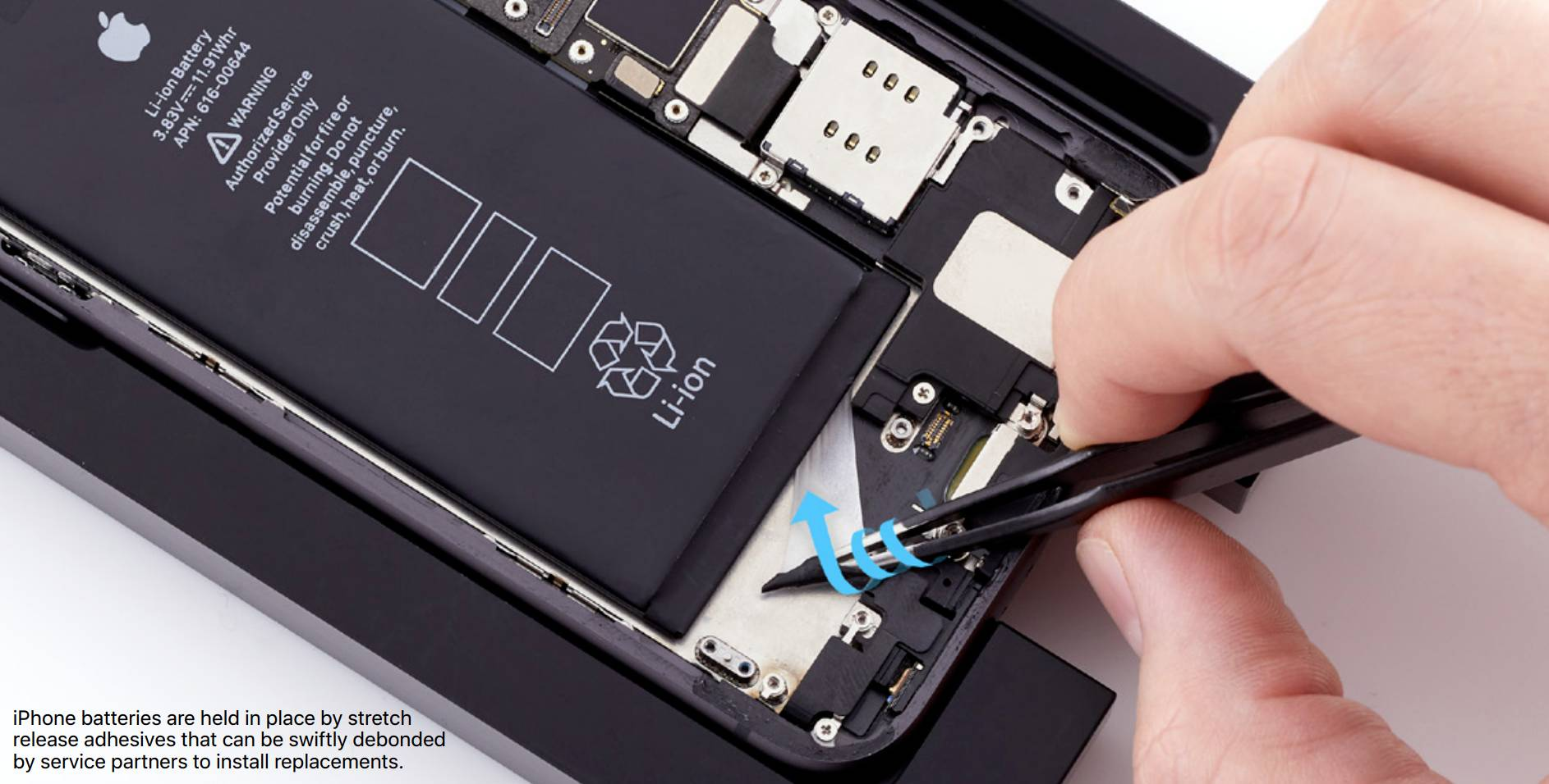 Screenshot from Apple's 2020 Environmental Progress Report, showing the removal of iPhone battery adhesive using tweezers.