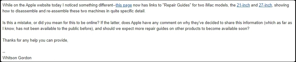 Portion of an email from iFixit writer Whitson Gordon to Apple PR, asking about iMac repair manuals appearing online.