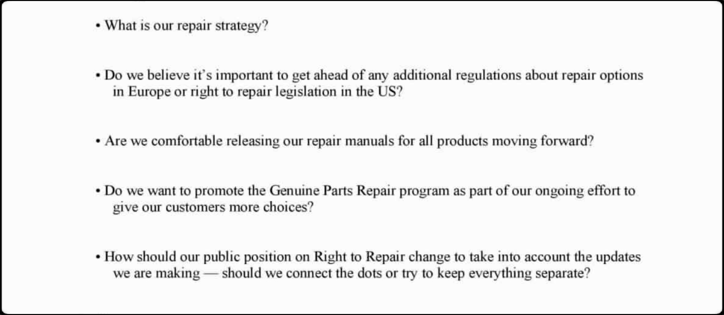 "Image of an internal Apple email, asking ""What is our repair strategy?"""