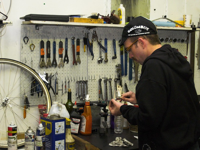 Worker at a bike co-op